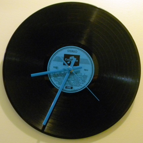 image of a clock made from an old LP record